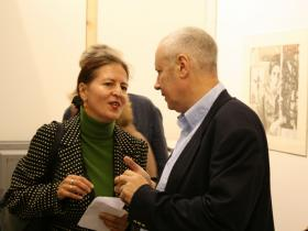 Doris Kohbauer, Curator of the Jewish Museum Vienna with Amos Schueller