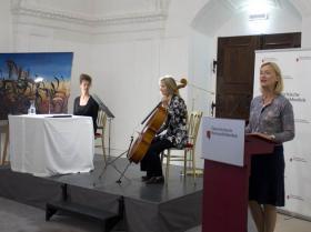 Lesung: Hannah Hohloch, Cello: Maria Kainz, Dr. Johanna Rachinger, Generaldirector of ONB