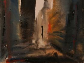 Alone in N.Y. III. (1982) | Gouache on Paper | 40 x 30 cm