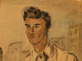 Young man with moustache (1942) | Aquarelle on Paper | 16 x 16 cm