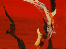 Black Fire on Red (1999) | Acryl on Canvas | 65 x 50 cm