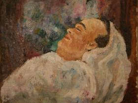 Franz Werfel on his death bed (1945) | Oil on Canvas | 61 x 75 cm