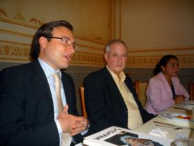 At Press Conference: Lic. Wolfgang Kutschera, Director of Austrian Cultural Forum in Mexico; Amos Schueller; Lic. Marina M. Hernández Aguilar, vice-director of the Centro Cultural Isidro Fabela