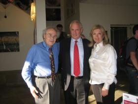 Director of Hillel at UCLA, Rabbi Chaim Seidler-Feller, Amos Schueller and Artistic director Perla Karney